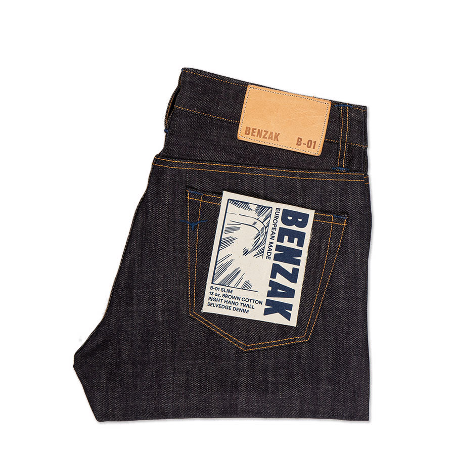 men's slim fit italian selvedge denim jeans | indigo | benzak B-01 SLIM 13 oz. brown cotton selvedge | candiani | pocket flasher