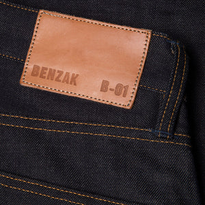 men's slim fit italian selvedge denim jeans | indigo | benzak B-01 SLIM 13 oz. brown cotton selvedge  | candiani | leather patch