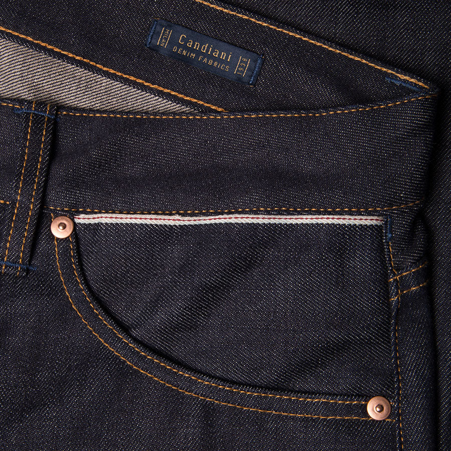 men's slim fit italian selvedge denim jeans | indigo | benzak B-01 SLIM 13 oz. brown cotton selvedge | candiani | hidden 6th pocket | hidden sixth pocket
