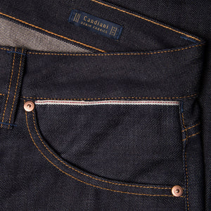 men's slim fit italian selvedge denim jeans | indigo | benzak B-01 SLIM 13 oz. brown cotton selvedge | Candiani | sixth pocket