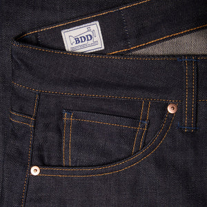 men's slim fit italian selvedge denim jeans | indigo | benzak B-01 SLIM 13 oz. brown cotton selvedge | candiani | coin pocket