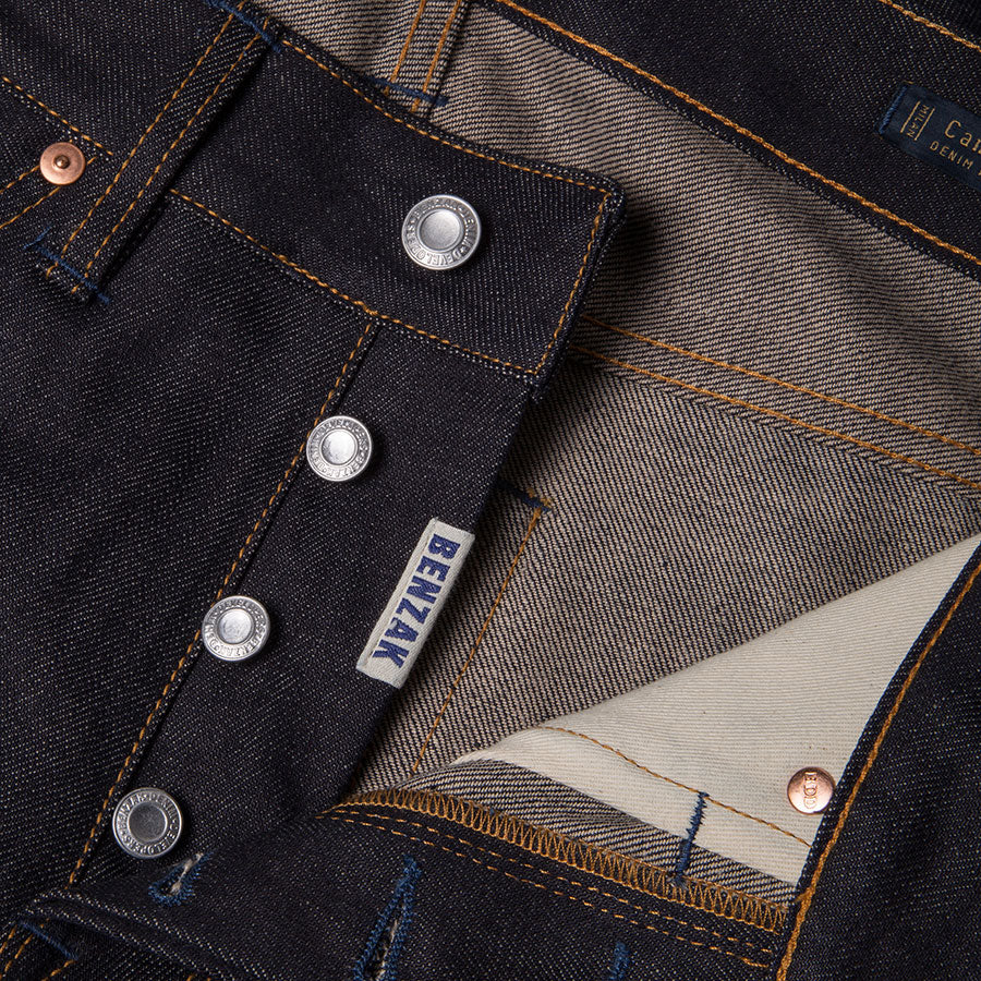 men's slim fit italian selvedge denim jeans | indigo | benzak B-01 SLIM 13 oz. brown cotton selvedge | candiani | 4 button fly | four button fly