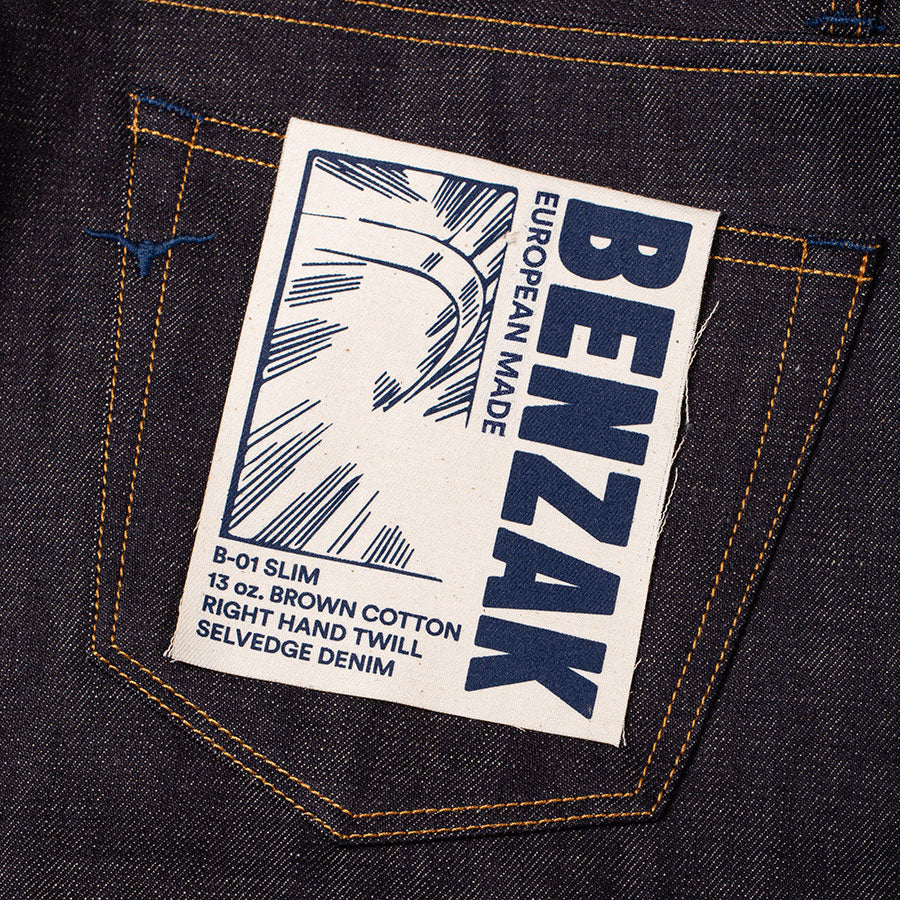 men's slim fit italian selvedge denim jeans | indigo | benzak B-01 SLIM 13 oz. brown cotton selvedge | candiani | artwork
