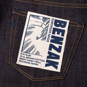 men's slim fit italian selvedge denim jeans | indigo | benzak B-01 SLIM 13 oz. brown cotton selvedge | candiani | pocket flasher | artwork