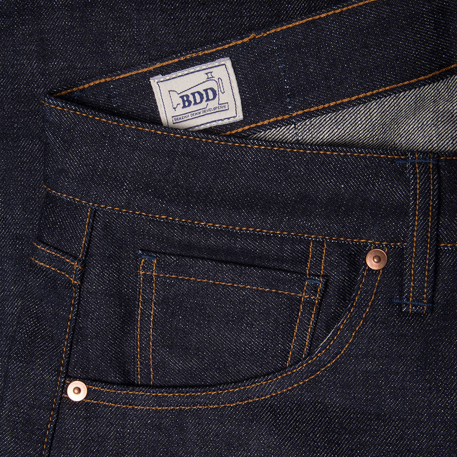 men's slim fit japanese selvedge denim jeans | indigo | benzak B-01 SLIM 15.5 oz. Kojima selvedge | coin pocket