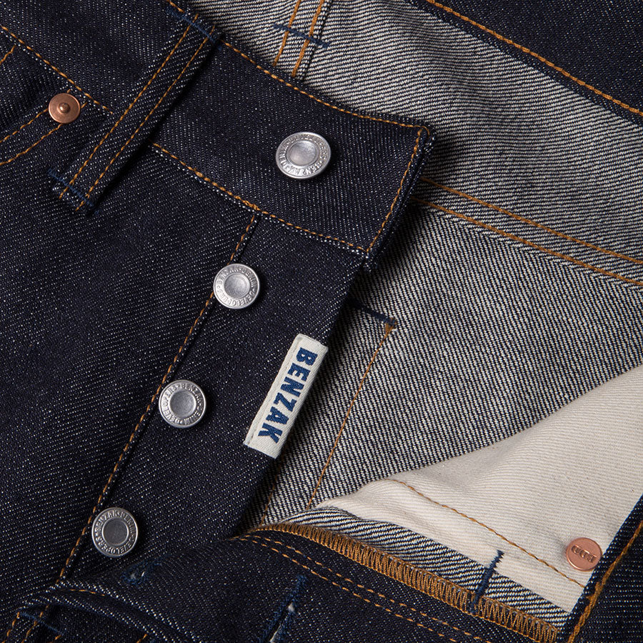 men's slim fit japanese selvedge denim jeans | indigo | benzak B-01 SLIM 15.5 oz. Kojima selvedge | button fly