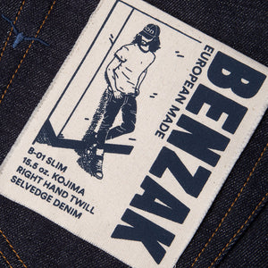 men's slim fit japanese selvedge denim jeans | indigo | benzak B-01 SLIM 15.5 oz. Kojima selvedge |ese tiger selvedge | kurabo | artwork