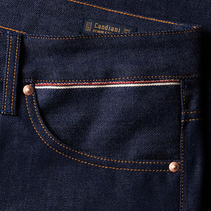 men's tapered fit italian selvedge denim jeans | benzak B-03 TAPERED 13 oz. indigo selvedge | Candiani | sixth pocket