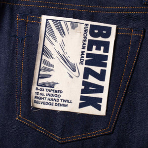 men's tapered fit italian selvedge denim jeans | benzak B-03 TAPERED 13 oz. indigo selvedge | Candiani | artwork
