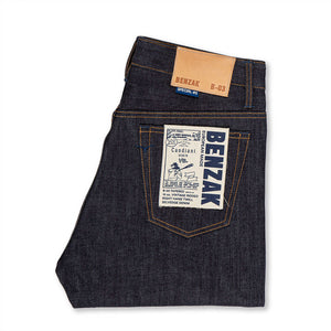 men's tapered fit japanese selvedge denim jeans | indigo | benzak | B-03 TAPERED special #2 15 oz. vintage indigo selvedge | candiani | pocket flasher
