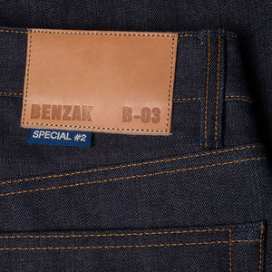 men's tapered fit japanese selvedge denim jeans | indigo | benzak | B-03 TAPERED special #2 15 oz. vintage indigo selvedge | candiani | leather patch