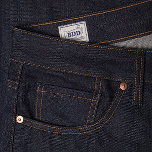 men's tapered fit japanese selvedge denim jeans | indigo | benzak | B-03 TAPERED special #2 15 oz. vintage indigo selvedge | candiani | coin pocket