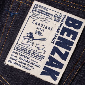 men's tapered fit japanese selvedge denim jeans | indigo | benzak | B-03 TAPERED special #2 15 oz. vintage indigo selvedge | candiani | pocket flasher | artwork