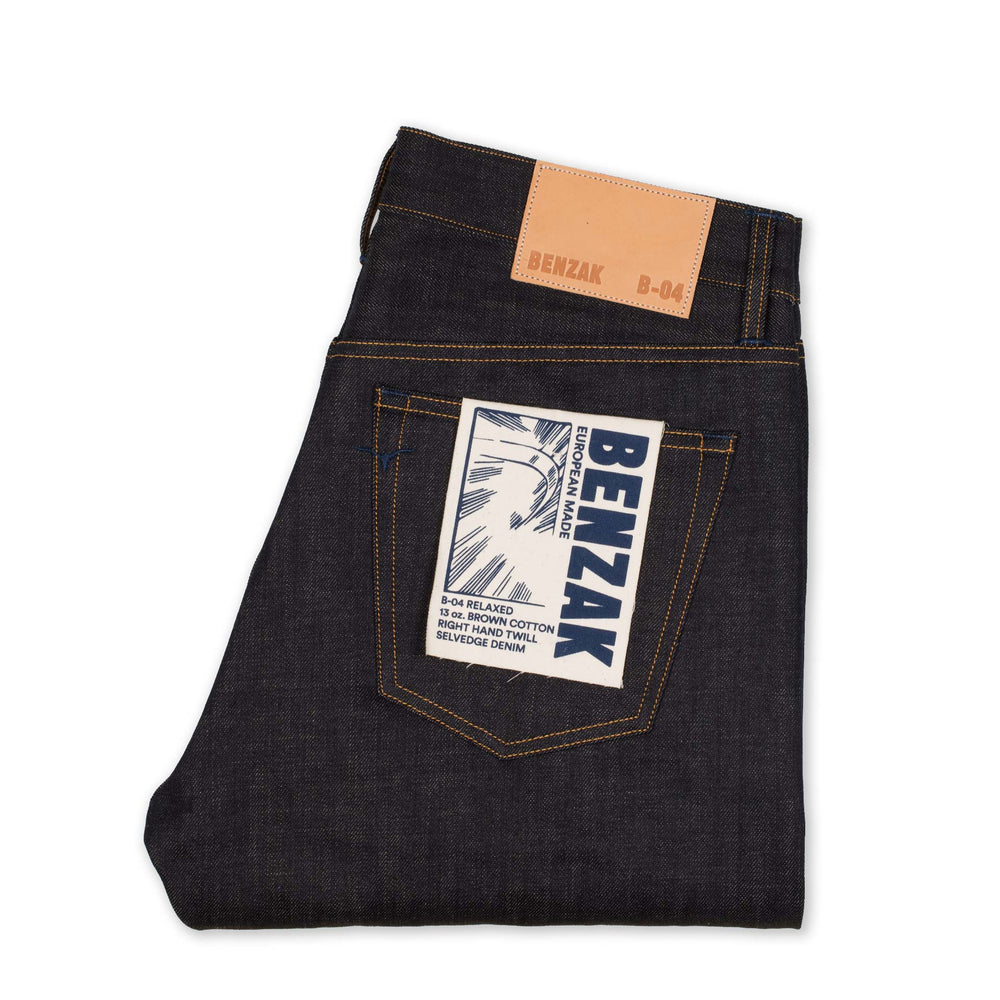 men's relaxed fit italian selvedge denim jeans | benzak B-04 RELAXED 13 oz. brown cotton selvedge | back