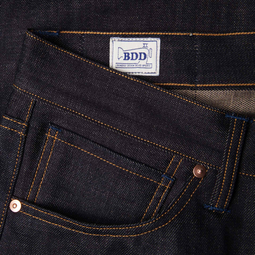 men's relaxed fit italian selvedge denim jeans | benzak B-04 RELAXED 13 oz. brown cotton selvedge | coin pocket