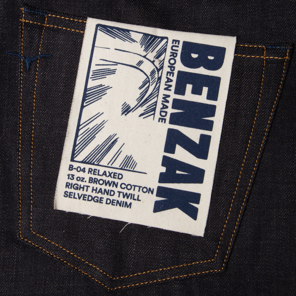 men's relaxed fit italian selvedge denim jeans | benzak B-04 RELAXED 12 oz. ecru selvedge | artwork
