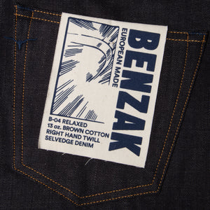 men's relaxed fit italian selvedge denim jeans | benzak B-04 RELAXED 13 oz. brown cotton selvedge | artwork