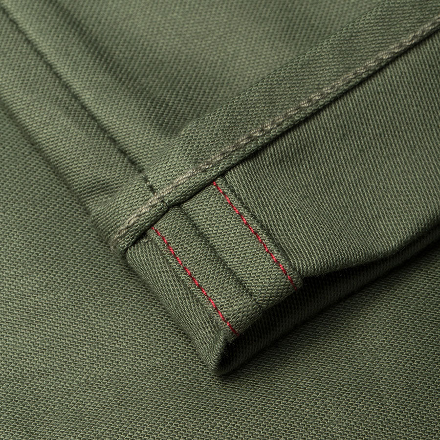 men's tapered fit chino | sateen | BC-01 TAPERED CHINO 10 oz. army green military twill | benzak | fit pic