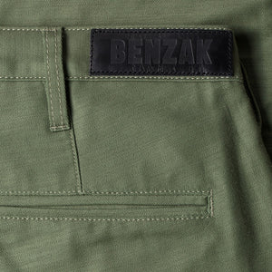 men's tapered fit chino | sateen | BC-01 TAPERED CHINO 10 oz. army green military twill | benzak | leather patch