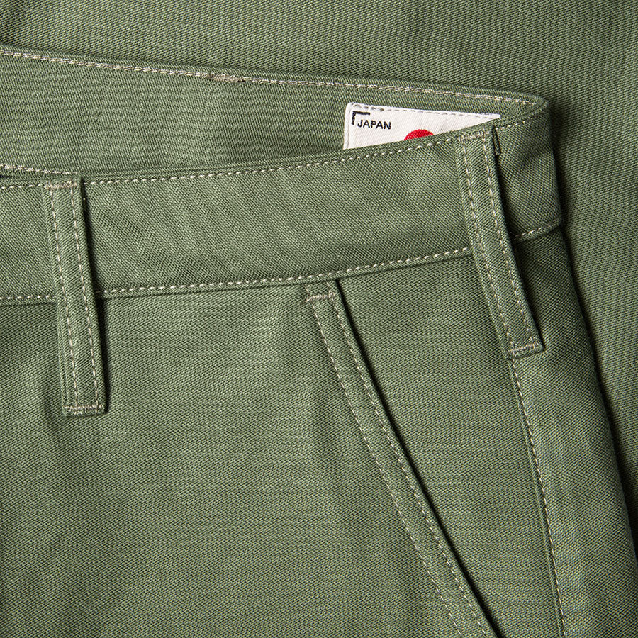 men's tapered fit chino | sateen | BC-01 TAPERED CHINO 10 oz. army green military twill | benzak | belt loop