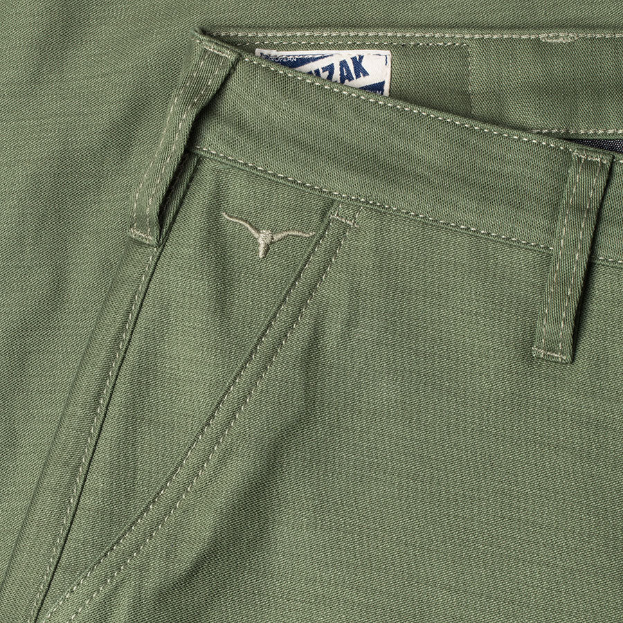 men's tapered fit chino | sateen | BC-01 TAPERED CHINO 10 oz. army green military twill | benzak | green chino