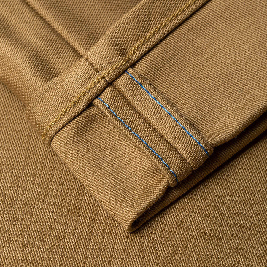 men's tapered fit chino | sateen | BC-01 TAPERED CHINO 10 oz. golden brown military twill | benzak | fit pic