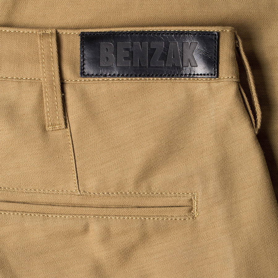 men's tapered fit chino | sateen | BC-01 TAPERED CHINO 10 oz. golden brown military twill | benzak | leather patch