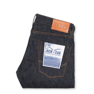 men's slim fit japanese selvedge denim jeans | indigo | made in japan | benzak BDD-006 green cast 15 oz. RHT | back