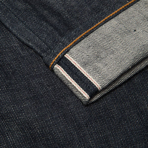 men's slim fit japanese selvedge denim jeans | indigo | made in japan | benzak BDD-006 green cast 15 oz. RHT | selvedge id