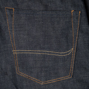 men's slim fit japanese selvedge denim jeans | indigo | made in japan | benzak BDD-006 green cast 15 oz. RHT | back pocket arc