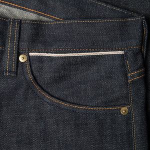men's slim fit japanese selvedge denim jeans | indigo | made in japan | benzak BDD-006 green cast 15 oz. RHT | selvedge sixth pocket