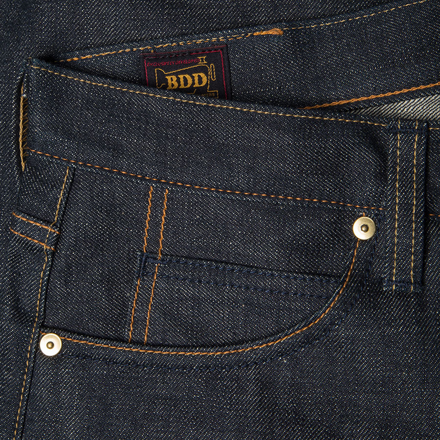 men's slim fit japanese selvedge denim jeans | indigo | made in japan | benzak BDD-006 green cast 15 oz. RHT | coin pocket