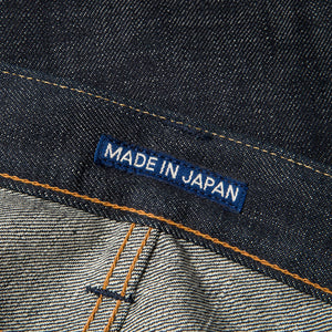 men's slim fit japanese selvedge denim jeans | indigo | made in japan | benzak BDD-006 green cast 15 oz. RHT | japan label