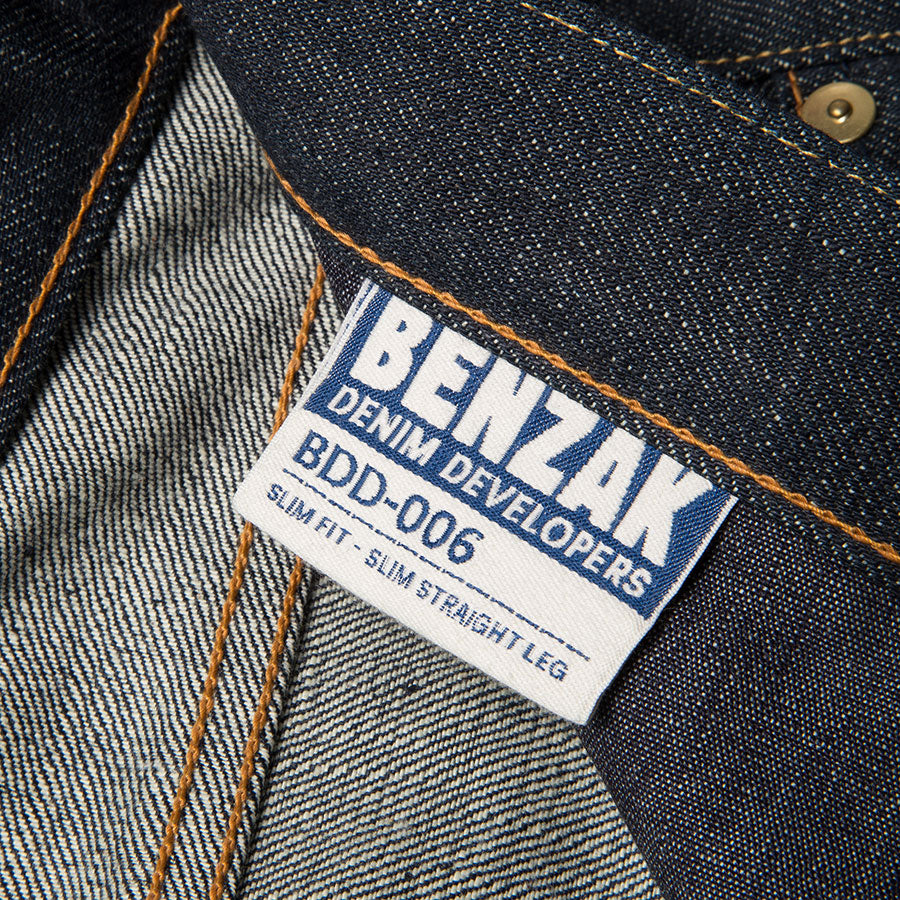 men's slim fit japanese selvedge denim jeans | indigo | made in japan | benzak BDD-006 green cast 15 oz. RHT | inside