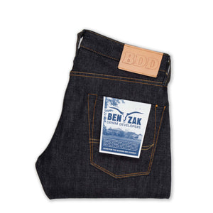 mens slim japanese selvedge denim jeans | indigo | made in japan | benzak BDD-006 grey cast 13.5 oz. LHT | back