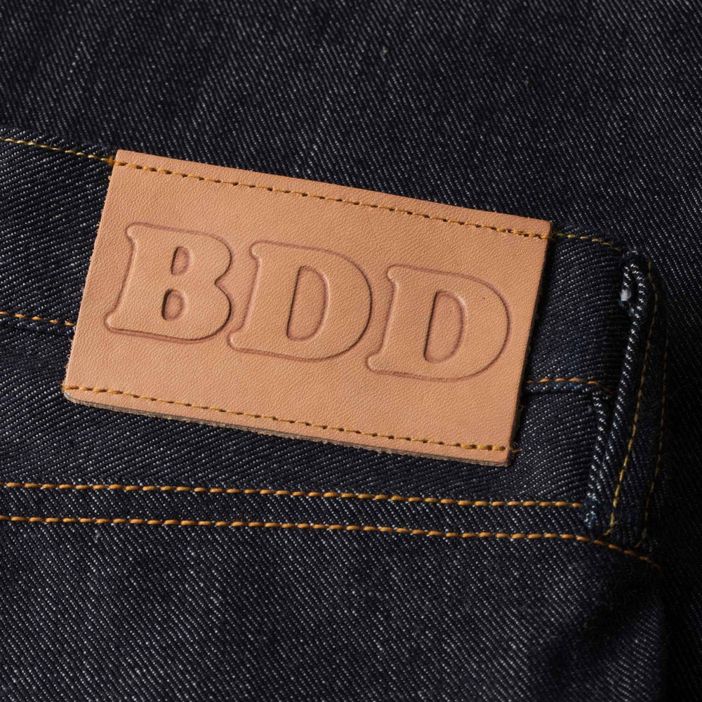 mens slim japanese selvedge denim jeans | indigo | made in japan | benzak BDD-006 grey cast 13.5 oz. LHT | leather patch