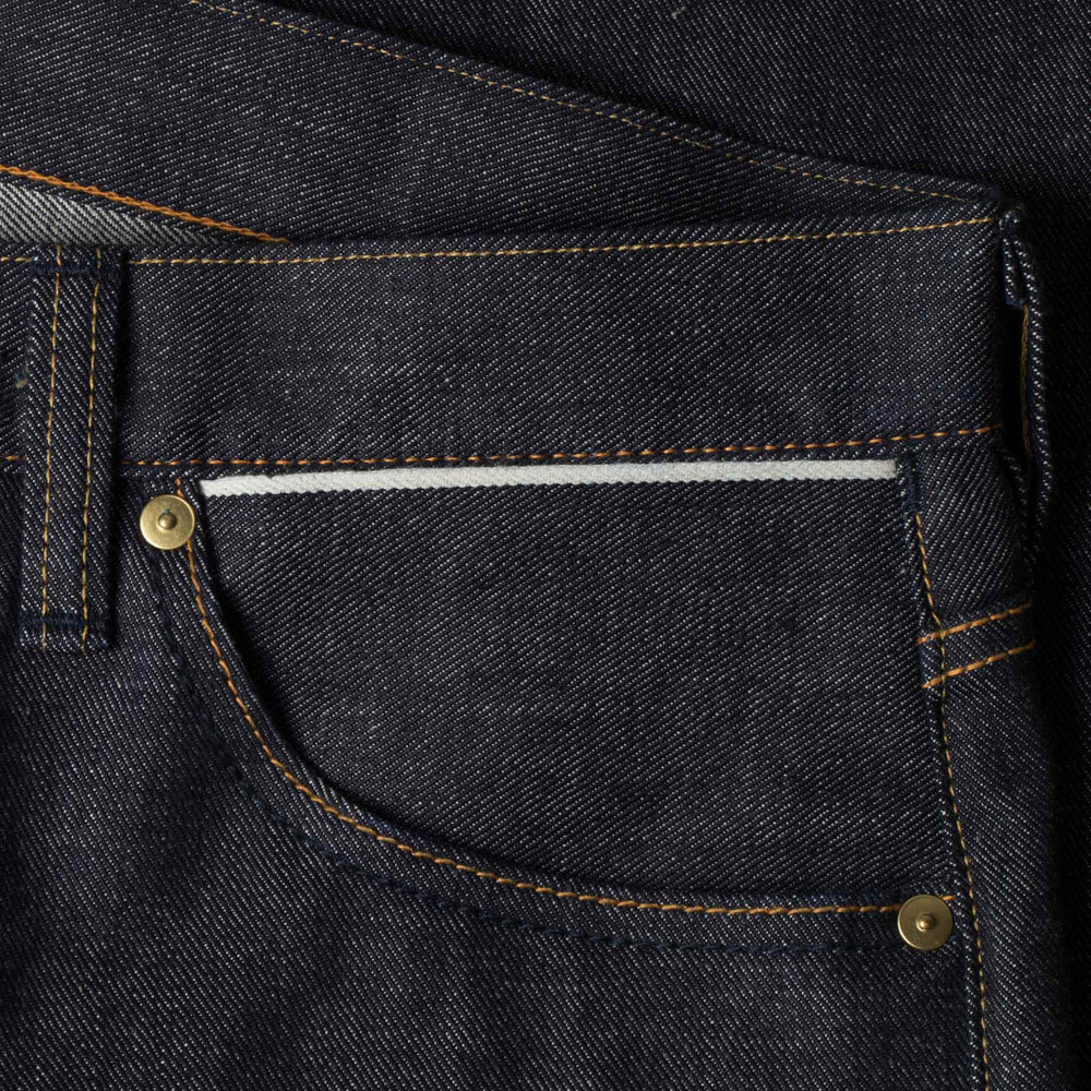 mens slim japanese selvedge denim jeans | indigo | made in japan | benzak BDD-006 grey cast 13.5 oz. LHT | 6th pocket