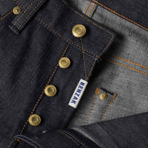 mens slim japanese selvedge denim jeans | indigo | made in japan | benzak BDD-006 grey cast 13.5 oz. LHT | fly
