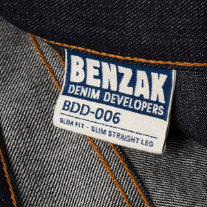 mens slim japanese selvedge denim jeans | indigo | made in japan | benzak BDD-006 grey cast 13.5 oz. LHT | label