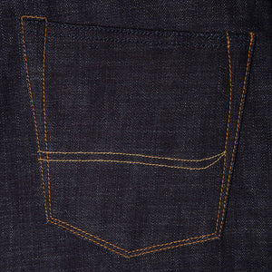 men's slim fit japanese selvedge denim jeans | indigo | made in japan | benzak BDD-006 heavy slub 16 oz. RHT | back pocket arc