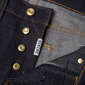 men's slim fit japanese selvedge denim jeans | indigo | made in japan | benzak BDD-006 heavy slub 16 oz. RHT | four button fly