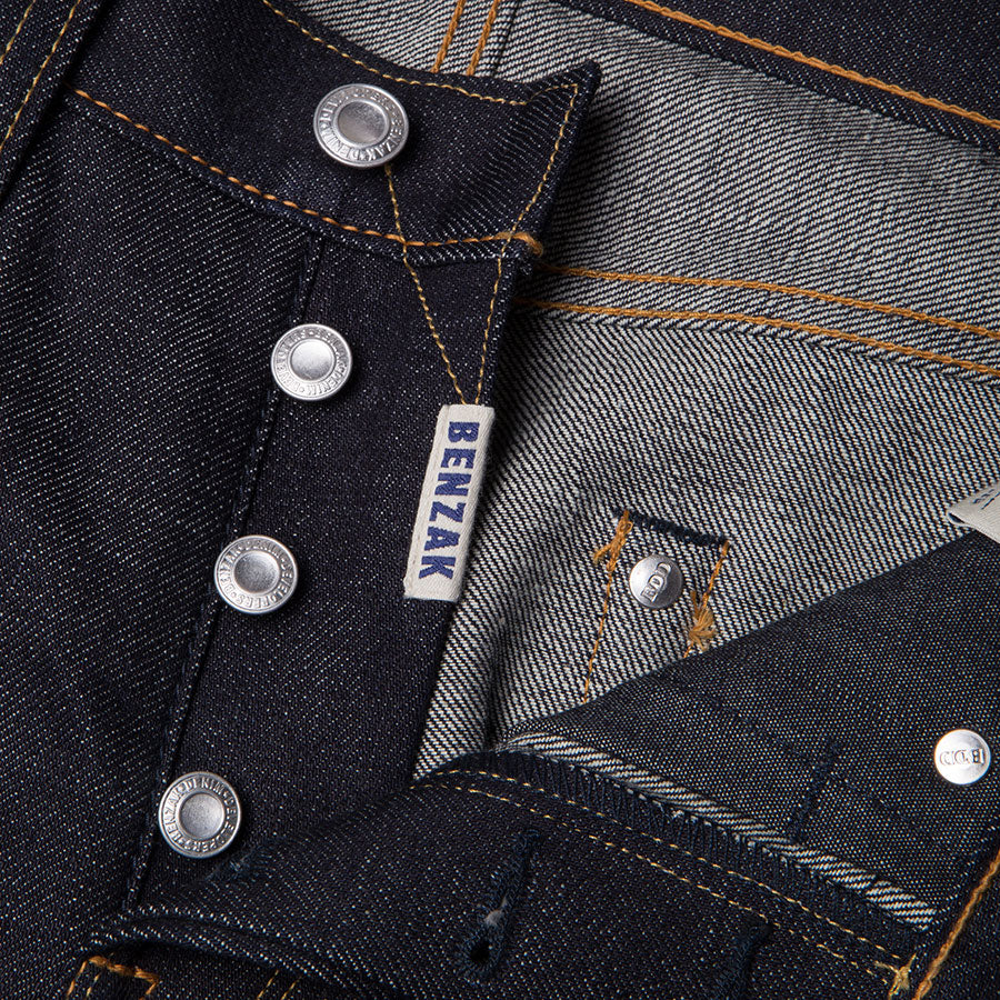 men's slim fit japanese selvedge denim jeans | indigo | made in japan | benzak BDD-006 heavy slub 16 oz. RHT | four button fly | 4 button fly