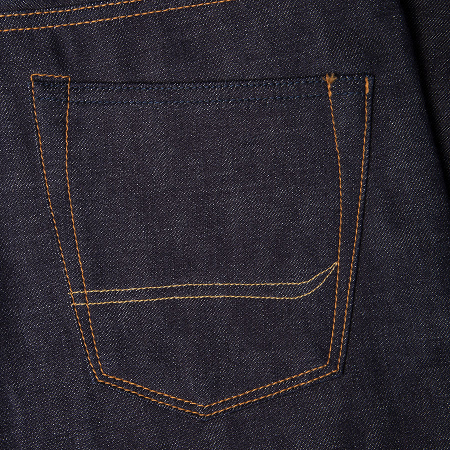 men's straight fit japanese selvedge denim jeans | indigo | benzak BDD-707 special #1 low tension 14 oz. RHT | back pocket arc