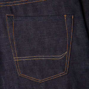 men's straight fit japanese selvedge denim jeans | indigo | made in japan | benzak BDD-707 special #1 low tension 14 oz. RHT | back pocket arc