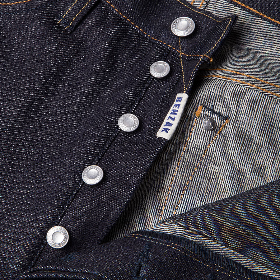 men's straight fit japanese selvedge denim jeans | indigo | made in japan | benzak BDD-707 special #1 low tension 14 oz. RHT | four button fly | 4 button fly