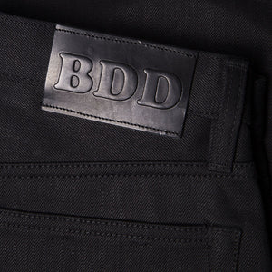 men's tapered fit japanese selvedge denim jeans | indigo | benzak BDD-711 black black 14 oz. RHT | leather patch