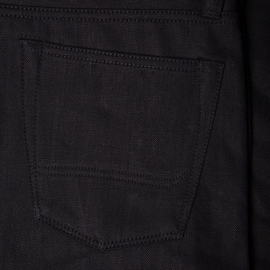 men's tapered fit japanese selvedge denim jeans | indigo | benzak BDD-711 black black 14 oz. RHT | back pocket arc
