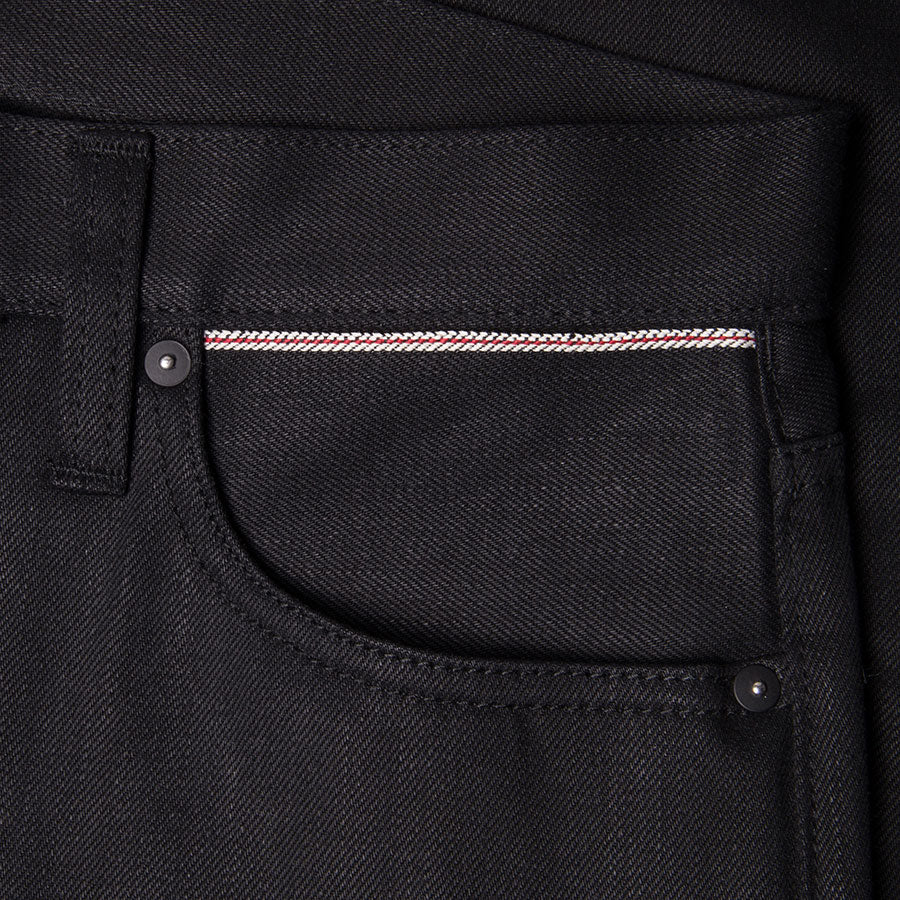 men's tapered fit japanese selvedge denim jeans | indigo | benzak BDD-711 black black 14 oz. RHT | selvedge sixth pocket