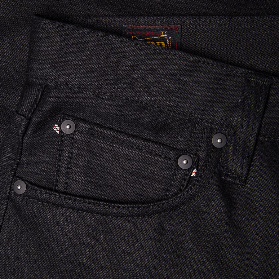 men's tapered fit japanese selvedge denim jeans | indigo | benzak BDD-711 black black 14 oz. RHT | coin pocket