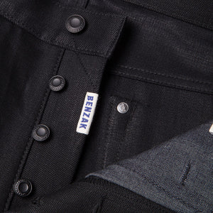 men's tapered fit japanese selvedge denim jeans | indigo | benzak BDD-711 black black 14 oz. RHT | four button fly